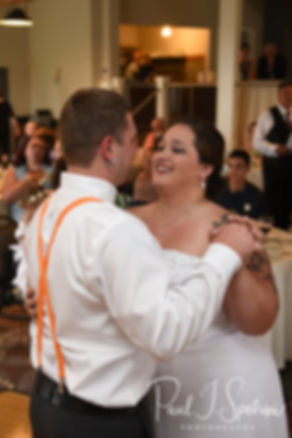 Samantha & Kyle dance during their June 2018 wedding ceremony at Chelo's Waterfront Bar & Grille in Warwick, Rhode Island.