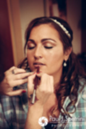 Toni has her lipstick applied prior to her August 2017 wedding ceremony at Crystal Lake Golf Club in Mapleville, Rhode Island.