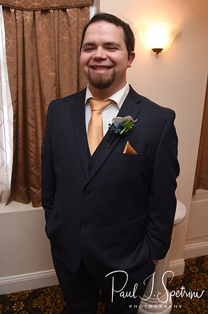 Gunnar smiles prior to his December 2018 wedding ceremony at McGoverns on the Water in Fall River, Massachusetts.