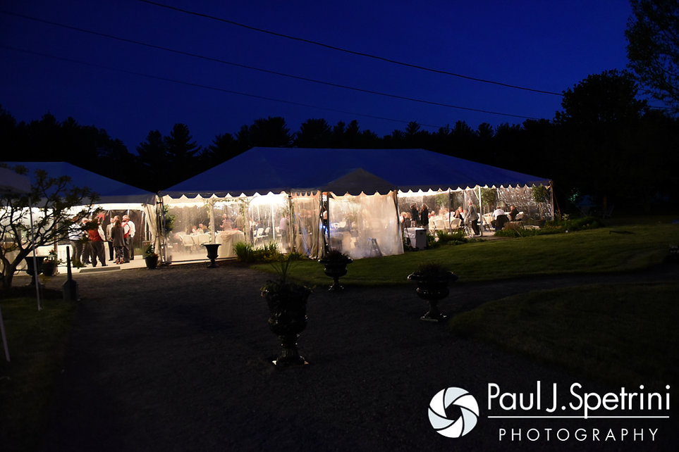 A look at the tent outside at Latasha and Justin's May 2016 wedding at Country Gardens in Rehoboth, Massachusetts.