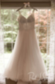 A look at Stephanie's wedding dress prior to her June 2018 wedding ceremony at Foster Country Club in Foster, Rhode Island.