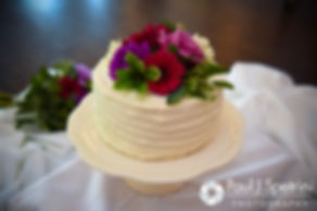 A look at the cake on display during Alyssa and Alex's August 2016 wedding reception at LeBaron Hills Country Club in Lakeville, Massachusetts.