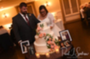 Katie & Steve cut their wedding cake during their October 2018 wedding reception at The Villa at Ridder Country Club in East Bridgewater, Massachusetts.