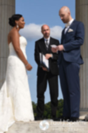 Mark and Jennifer exchange vows during their September 2016 wedding at the Roger Williams Park Temple of Music in Providence, Rhode Island.
