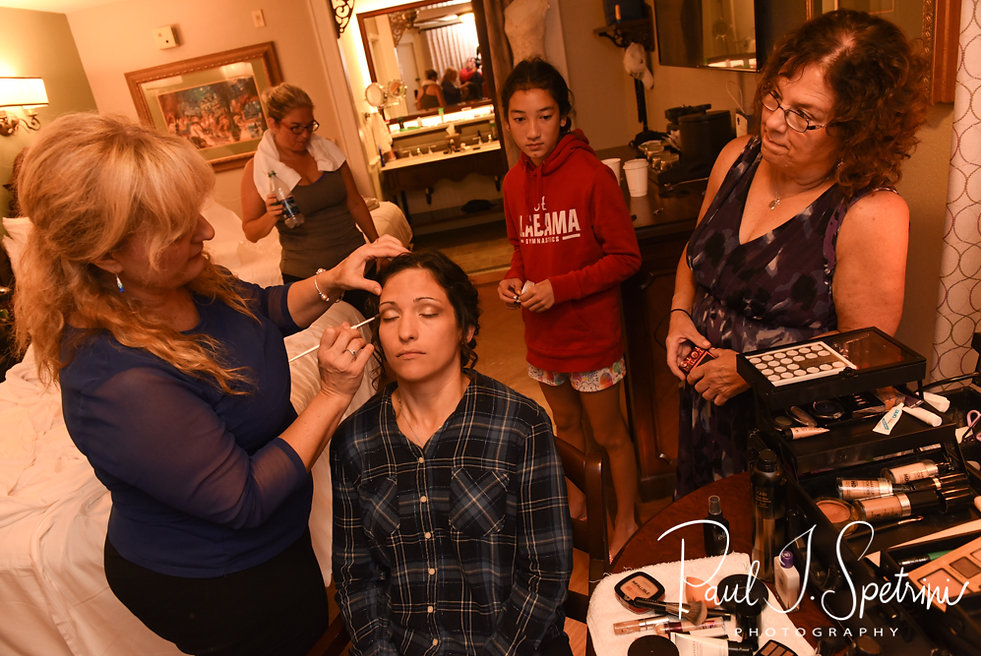 Amanda gets her makeup done prior to her October 2018 wedding ceremony at the Walt Disney World Swan & Dolphin Resort in Lake Buena Vista, Florida.