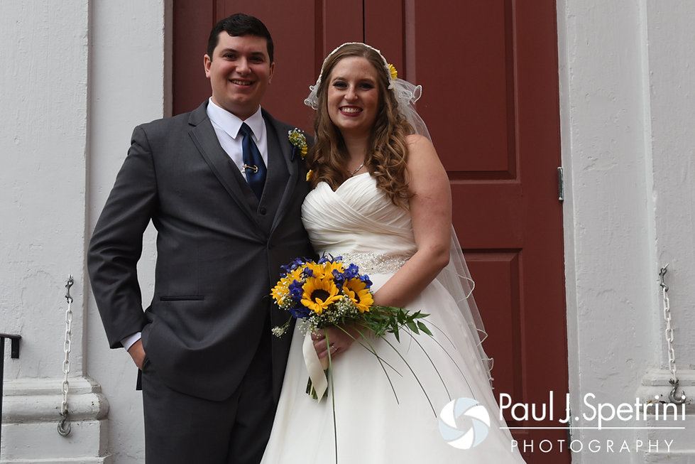 Kristin and Chris smile for a formal photo following their October 2016 wedding ceremony at Exeter Congregational Church in Exeter, New Hampshire.