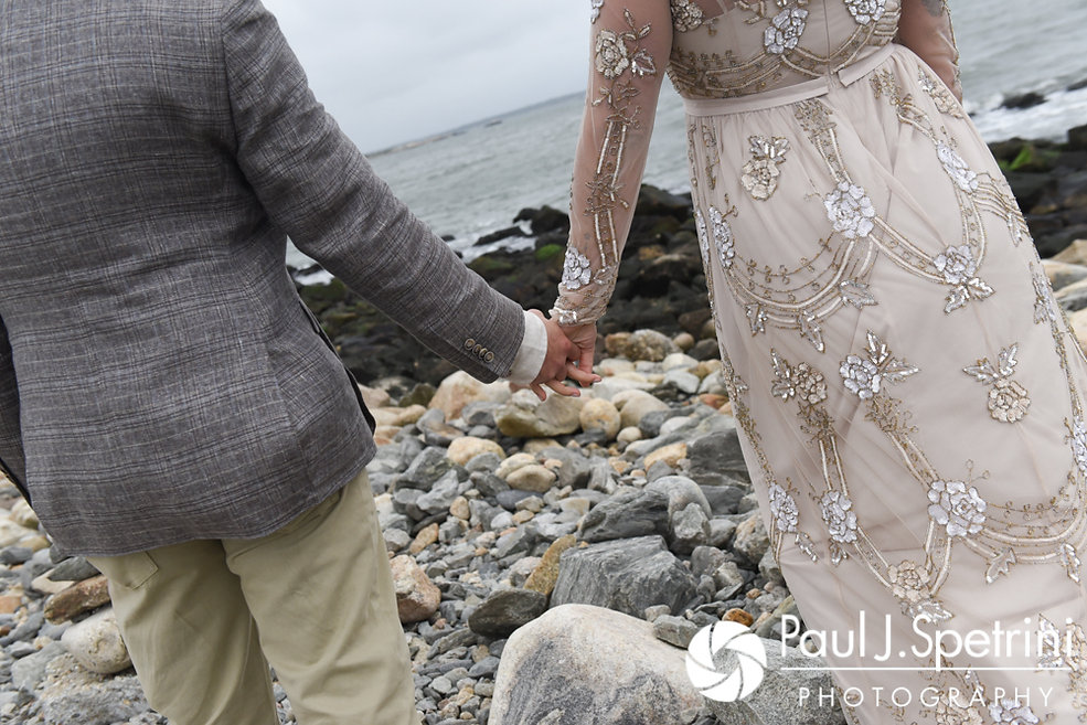 Arielle and Gary hold hands prior to their September 2017 wedding ceremony at North Beach Club House in Narragansett, Rhode Island.