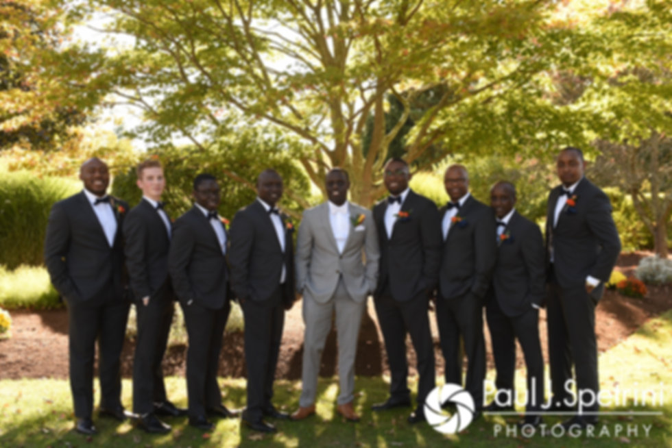 Kevin poses for a photo with his groomsmen prior to his October 2017 wedding ceremony at the Villa Ridder Country Club in East Bridgewater, Massachusetts.