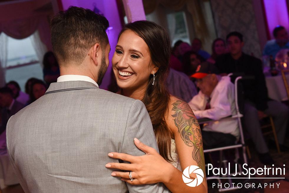 Stacey and John share their first dance during their September 2017 wedding reception in Warren, Rhode Island.