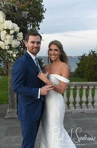 David and Whitney pose for a formal photo following their October 2018 wedding ceremony at Castle Hill Inn in Newport, Rhode Island.