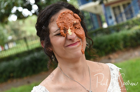 Amanda reacts to having a cupcake smashed in her face following her October 2018 wedding ceremony at the Walt Disney World Swan & Dolphin Resort in Lake Buena Vista, Florida.