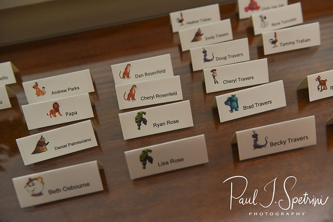 A look at the place cards prior to Laura & Marijke's June 2018 wedding ceremony at Independence Harbor in Assonet, Massachusetts.