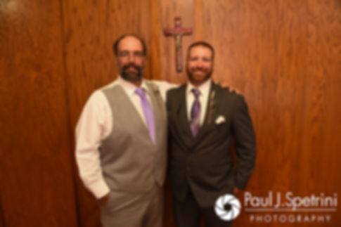 Dale and his father pose for a photo prior to his October 2017 wedding ceremony at St. Robert's Church in Johnston, Rhode Island.