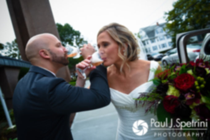 Tricia and Kevin celebrate following their October 2017 wedding ceremony at St. Brendan Parish in Riverside, Rhode Island.