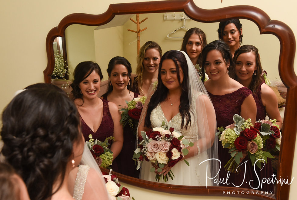 Lizzy poses for a photo with her bridesmaids prior to her September 2018 wedding ceremony at Crystal Lake Golf Club in Mapleville, Rhode Island.