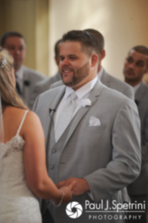 Nathan looks at Amy during his November 2017 wedding ceremony at First Unitarian Church of Providence in Providence, Rhode Island.