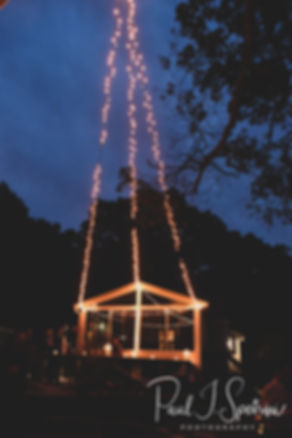 A look at the lights during Josh & Kim''s September 2018 wedding reception at their home in Coventry, Rhode Island.