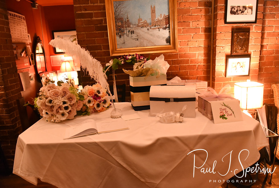 A look at the decorations during Patti & Bob's August 2018 wedding reception at the Olde Colonial Cafe in Norwood, Massachusetts.
