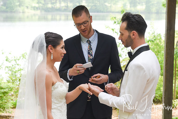 Kendra and Joe exchange rings during their May 2018 wedding ceremony at Crystal Lake Golf Club in Mapleville, Rhode Island.