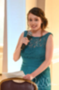 The maid of honor gives a speech during Brian & Sarah's June 2018 wedding reception at Pleasant Valley Country Club in Sutton, Massachusetts.