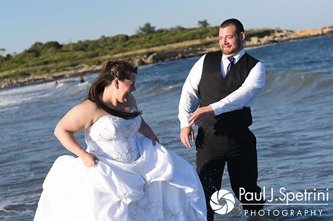 Clarissa and Jeff go into the water during a July 2017 'Trash the Dress' photo shoot at Black Point Trailhead in Narragansett, Rhode Island.