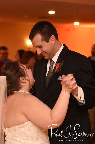Chris & Stephanni have their first dance during their October 2018 wedding reception at Rachel's Lakeside in Dartmouth, Massachusetts.