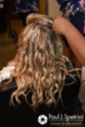 Michelle has her hair done prior to her May 2016 wedding at Hillside Country Club in Rehoboth, Massachusetts.