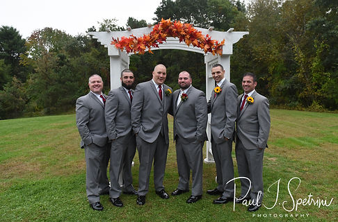 Jon poses for a formal photo with his groomsmen following his October 2018 wedding ceremony at Twelve Acres in Smithfield, Rhode Island.