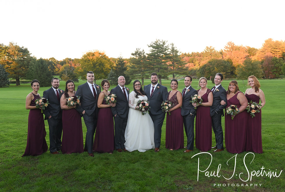 Katie & Steve pose for a formal photo with their wedding party following their October 2018 wedding ceremony at The Villa at Ridder Country Club in East Bridgewater, Massachusetts.