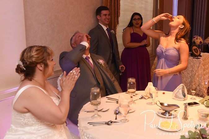Rick and his daughter take a shot during his August 2018 wedding reception at Twelve Acres in Smithfield, Rhode Island.