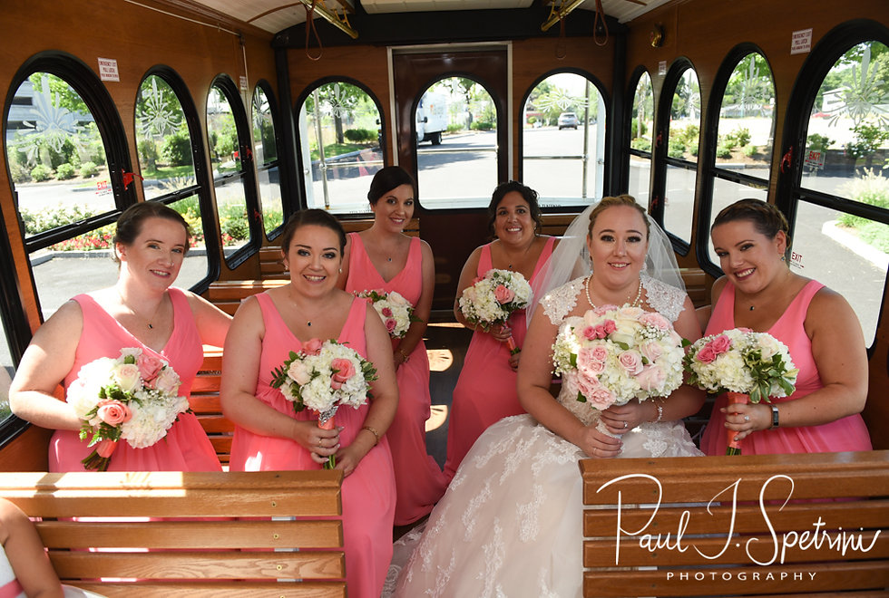 Courtney and her bridesmaids pose for a photo prior to her September 2018 wedding ceremony at St. Paul Church in Cranston, Rhode Island.