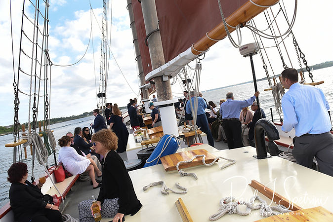 A look at the Schooner Aurora boat prior to Mike & Kate's May 2018 wedding ceremony in the waters off Newport, Rhode Island.