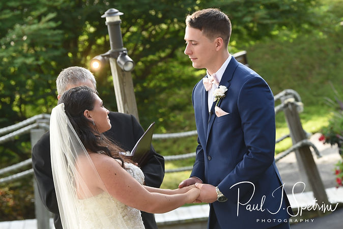 Michael looks at Miranda during his August 2018 wedding reception at the Squantum Association in Riverside, Rhode Island.