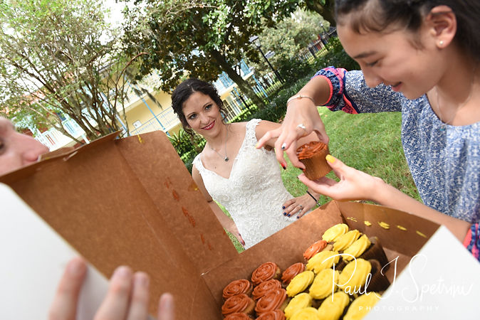 Amanda gets ready for a cupcake smash following her October 2018 wedding ceremony at the Walt Disney World Swan & Dolphin Resort in Lake Buena Vista, Florida.
