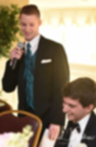 The best man gives a toast during Brian & Sarah's June 2018 wedding reception at Pleasant Valley Country Club in Sutton, Massachusetts.