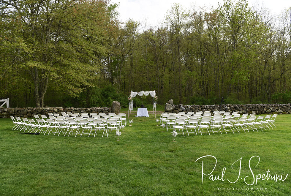 A look at the ceremony site prior to Ryan & Mike's May 2018 wedding at Bittersweet Farm in Westport, Massachusetts.