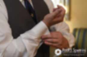 Chris adjusts his cuffs prior to his October 2016 wedding ceremony at Exeter Congregational Church in Exeter, New Hampshire.