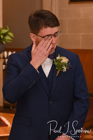 Mack reacts to seeing Stacey for the first time during his December 2018 wedding ceremony at St. Teresa's Church in Attleboro, Massachusetts.