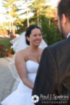Kelly smiles at Brian following their November 2016 wedding ceremony at the Bay Pointe Club in Buzzards Bay, Massachusetts.