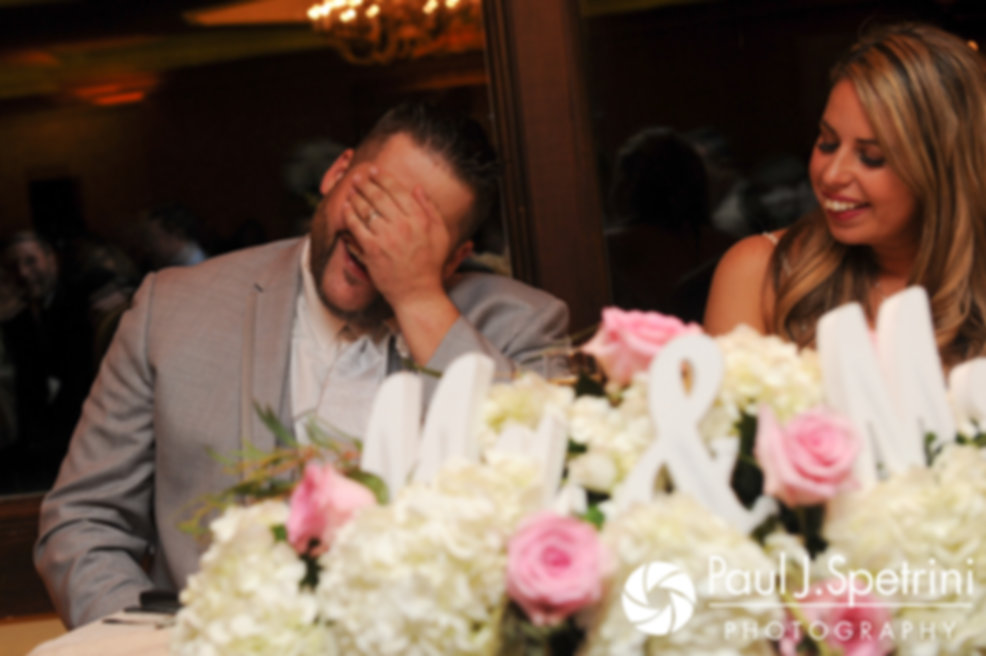 Nathan and Amy react to the best man's speech during their November 2017 wedding reception at Quidnessett Country Club in North Kingstown, Rhode Island.