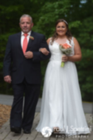 Toni walks down the aisle during her August 2017 wedding ceremony at Crystal Lake Golf Club in Mapleville, Rhode Island.
