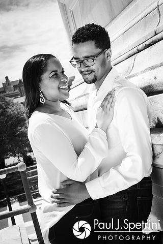 Lucelene and Luis pose for a photo at the Rhode Island Statehouse in Providence, Rhode Island during their May 2017 engagement shoot.