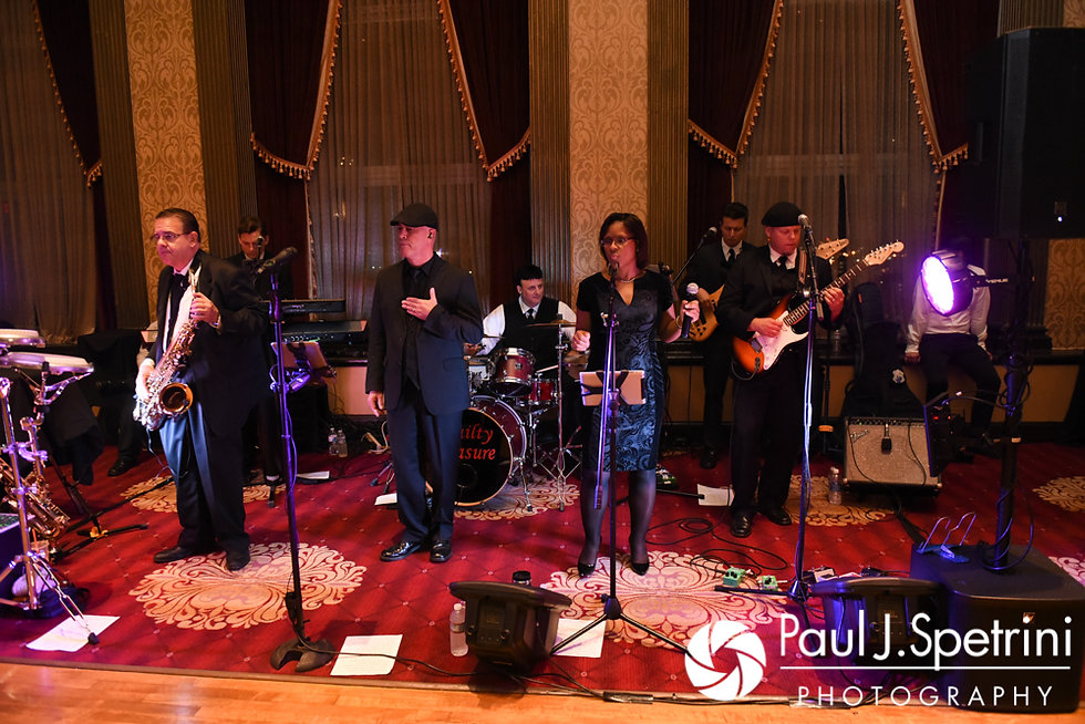 The band plays during Tricia and Kevin's October 2017 wedding reception at the Providence Biltmore in Providence, Rhode Island.