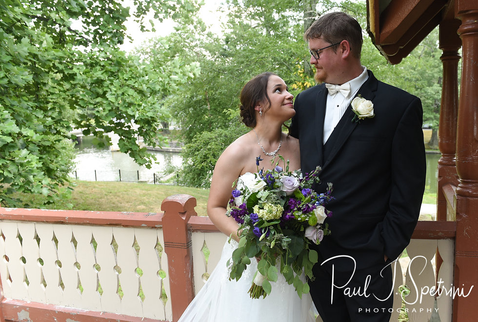 Danielle & Mark pose for a formal photo following their August 2018 wedding ceremony at the Roger Williams Park Casino in Providence, Rhode Island.