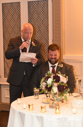 The best man gives a toast during Katie & Steve's October 2018 wedding reception at The Villa at Ridder Country Club in East Bridgewater, Massachusetts.
