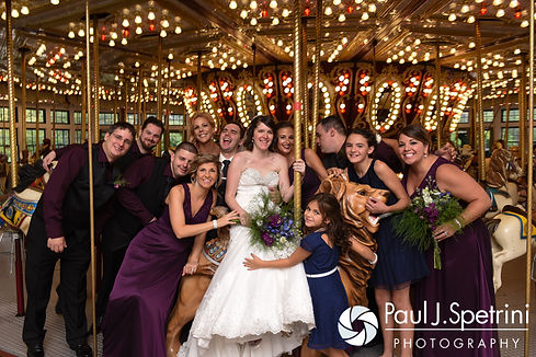 Jen and Kyle pose for a formal photo with their wedding party following their September 2016 wedding at the Roger Williams Park Botanical Center in Providence, Rhode Island.