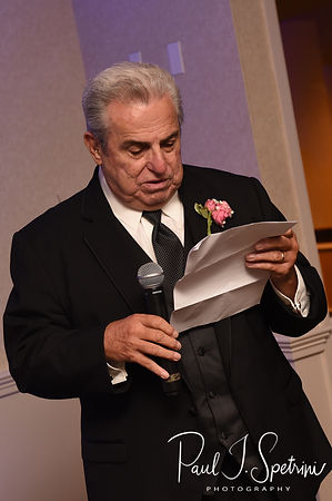 The bride's father gives a toast during Patrick & Courtney's September 2018 wedding reception at Valley Country Club in Warwick, Rhode Island.