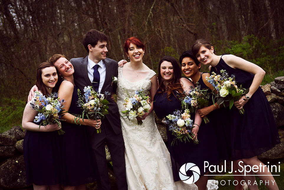 Ellen and Jeremy pose for formal photos with the bridesmaids following their May 2016 wedding at Bittersweet Farm in Westport, Massachusetts.