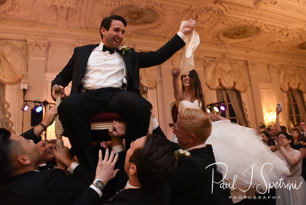 Helen and Mike participate in the Hora during their September 2018 wedding reception at the Rosecliff Mansion in Newport, Rhode Island.