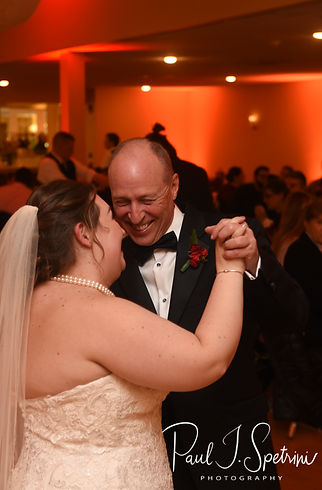 Stephanni and her dad dance during her October 2018 wedding reception at Rachel's Lakeside in Dartmouth, Massachusetts.